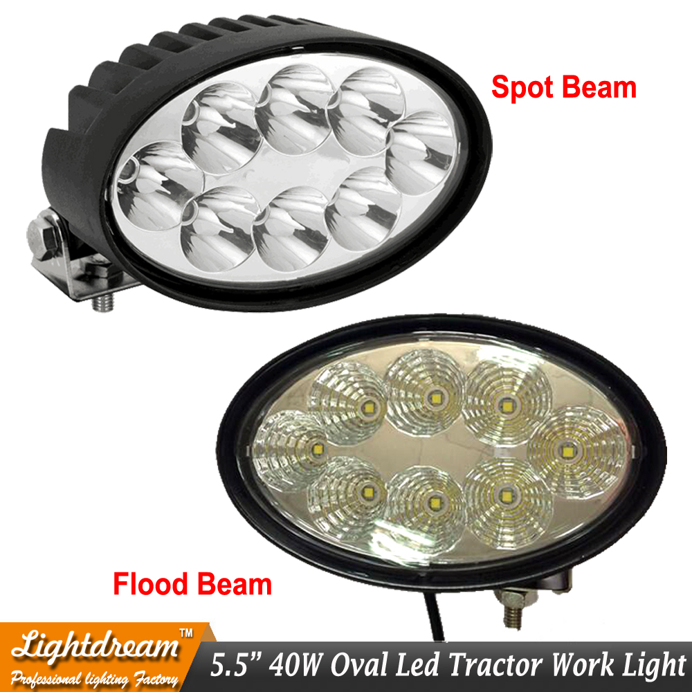 5.5 inch 40W Oval LED Driving Work Light 8LED*5W 12V Oval Offroad SUV ATV 4WD Flood Spot Beam 12/24V led tractor work lamp x1<br>