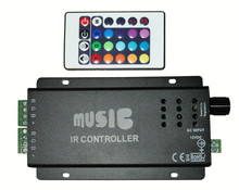 RGB LED music controller with 24key IR remote;DC12-24V input;6A*3CH output
