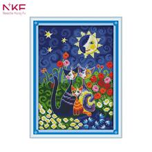 NKF 14CT 11CT Counted and Stamped Cats Under The Sun Cross Stitch For Home Decoration K989(1)