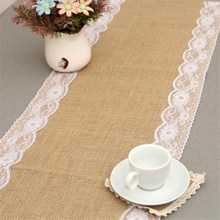 Lace Jute Table Runner Wedding Decoration New Vintage Natural Jute Country Party Event Banners Flag Hessian Burlap Edges
