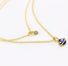 Timlee N059 Free shipping,Sweet Blue Saturn Planet Star Moon design Pendant Necklace Wholesale TLW(China)