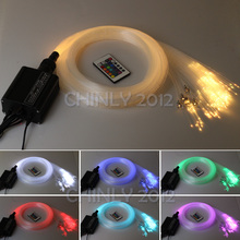 16W RGBW 24key IR remote LED fiber optics fabric Lights 2M(0.75mm+1.0mm+1.5mm)+crystal