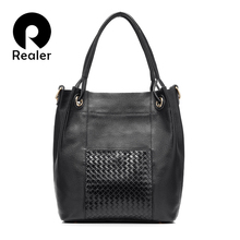 REALER brand design women genuine leather bag high quality women handbag red/gray/black tote bag female leather shoulder bag(China)