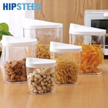HIPSTEEN 5Pcs Environmental Simple Style Sealed Canisters Kitchen PP Nut Dry Food Goods Storage Jar Set - Transparent(China)