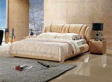 Bedroom furniture king size large soft bed leather comfortable bed B260(China)