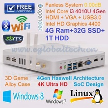 Fanless Mini PC Embedded Haswell CPU  Intel Dual Core I3 4010U 4GB Ram 32GB SSD 1TB HDD Wifi Dual Antenna MINI-ITX Computer HTPC