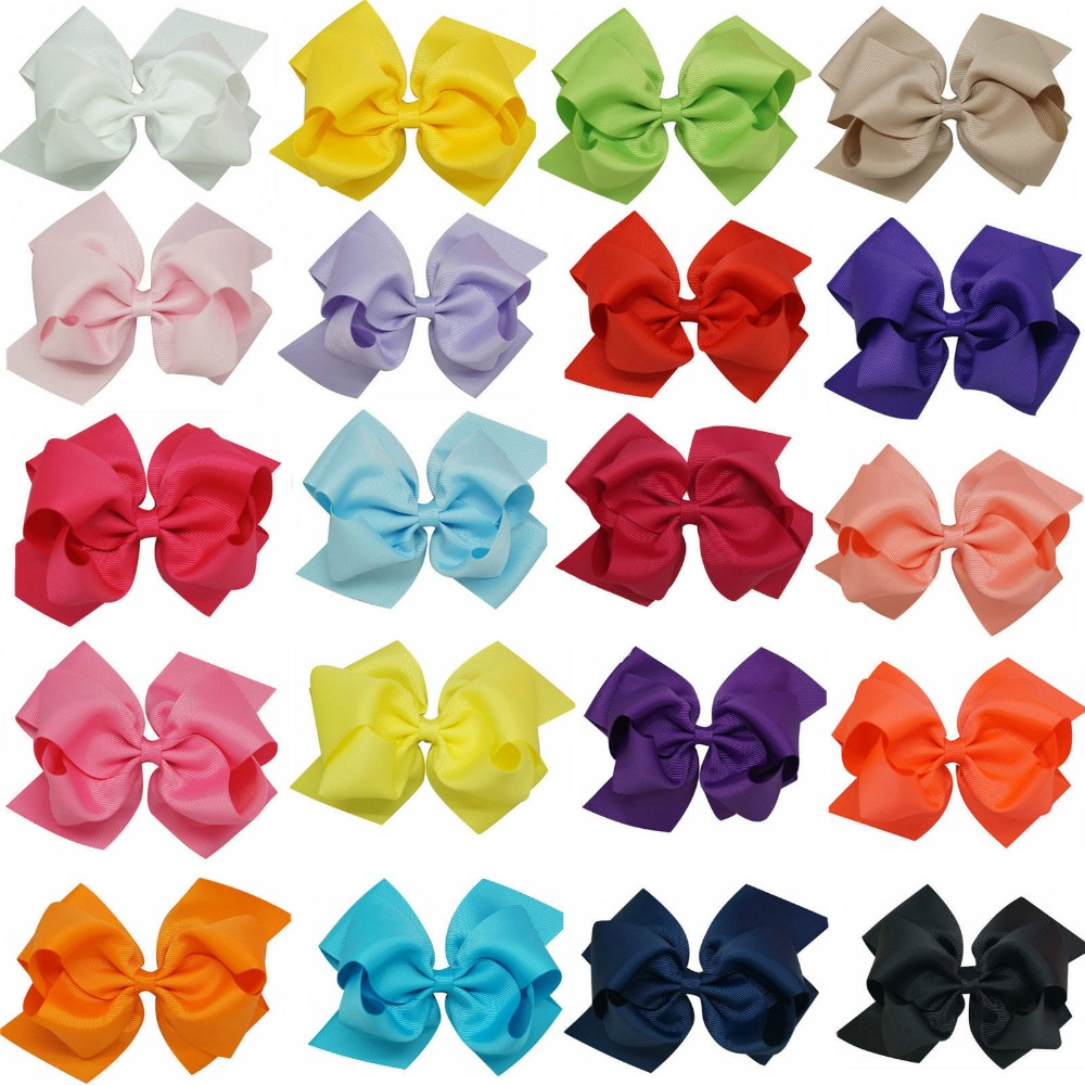 6 Inch 20Pcs Large Double Layers Grosgrain Ribbon Hairbow Baby Girls Hair Bows Clips<br><br>Aliexpress