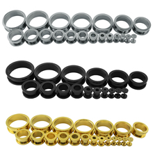 1 Pair 3-30mm Stainless Steel Ear Tunnels Plugs Gold Silver Black Expander Stretcher Ear Gauges Piercing Jewelry(China)