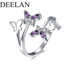 Buy ARUEL Hot Crystal Charm Jewelry Girls Party Adjustable butterfly Wings ring women wedding bague Trendy anillo Fashion Rings for $1.59 in AliExpress store