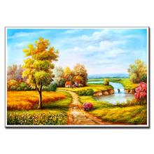 1 Pcs Mediterranean Autumn Gold Oil Art Canvas Painting Special Design Landscape Sunny field Wall Picture for Kitchen Decor(China)