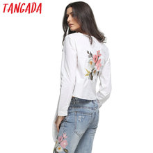 Tangada European Fashion 2016 Women Back Floral Embroidery White Blouse Bow O-neck Long Sleeve Casual Brand Shirts Female NRB211
