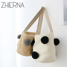 ZHIERNA summer shoulder bag  handbag straw bag handbag beach bag woven bag