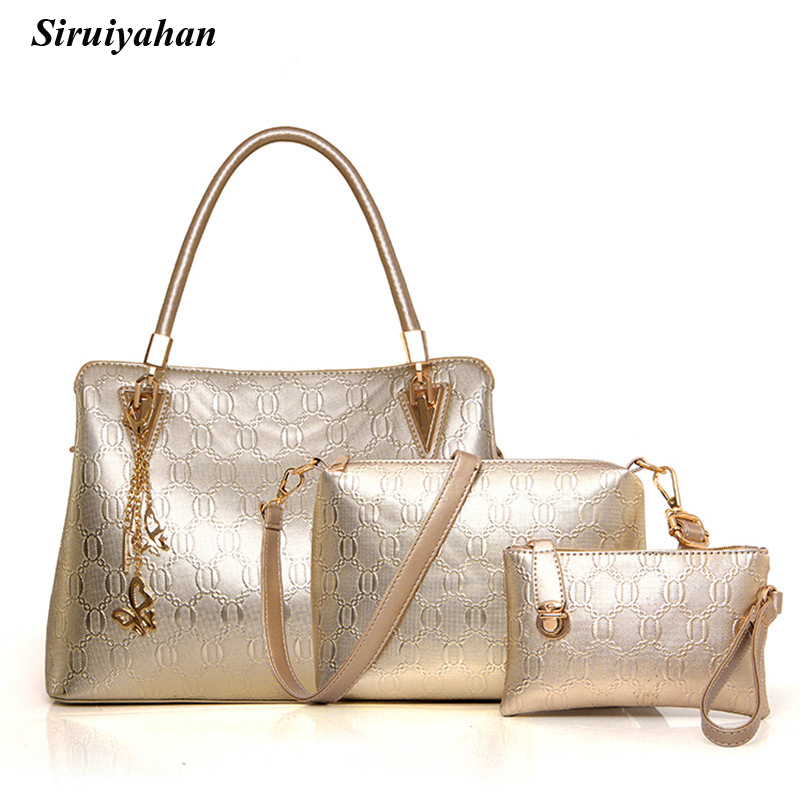 Siruiyahan Female Bags High Quality Handbag 3 Pieces Sets Women Handbag Large Tote Bags for Women 2018 Top-handle Crossbody Bag<br>
