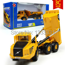 free shipping big size high quality alloy Engineering Vehicle model children toy cars- dumper truck 1:87 in box(China)