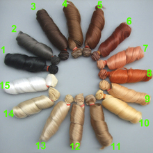 free shipping 15 cm curly doll wigs brown khaki black high temperature heat resistant doll hair 1/3 1/4 1/6 BJD diy doll wigs(China)
