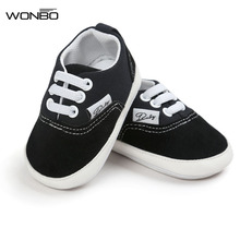 Wonbo Brand New design Baby Canvas shoes Lace-up Baby Moccasins Bebe Rubber Soled Non-slip Footwear Crib Sneakers baby shoes(China)