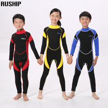 2017 One Pieces Children's 2.5mm Warm Neoprene Wetsuits Kids Swimwears Diving Suits Long Sleeves Boys Girls Surfing Rash Guards(China)