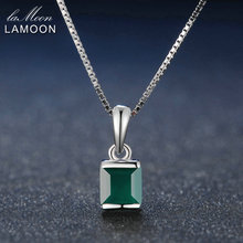LAMOON Natural Gemstone Square Green Chalcedony 925 Sterling Silver Simple Chain Pendant Necklace Women Jewelry(China)