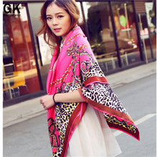 GONZETANNK 2017 Spring Summer Luxury Brand Women Fashionable Red Lace Scarves square Satin Shawls Silk Chiffon Scarf 130*130 L