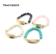 sl20649 / sweet girl jewelry /Exclusive designNatural stone beads and colorful bracelet Fine leaves bracelet(China)