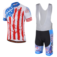 America team cycling jersey short sleeve and bib shorts set/ Pro ropa bicycle cycling clothing/ The USA MTB bike clothes(China)