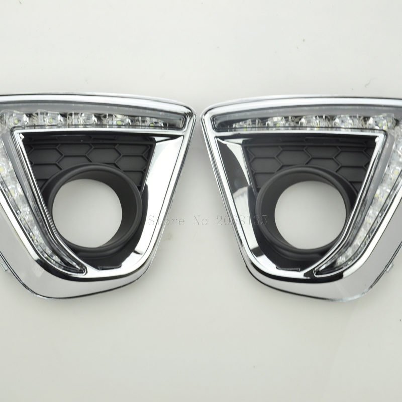LED Car DRL Daytime Running Lights with black matt Fog lamp hole for Mazda CX-5 CX5 12- 16 White yellow turning to night Blu-ray<br>
