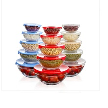 free shipping glass mixing bowl 5pcs glass bowl set retain freshness bowl with PP cover each