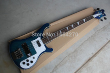Free shipping 2015 New arrival electric bass rickedbacker Blue dual jack of log guitar   151022