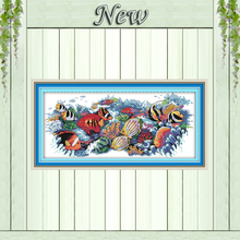 Tropical fish,Pattern print on canvas DMC 11CT 14CT Cross Stitch kit,needlework Set embroidery,animal style hand made crafts DIY
