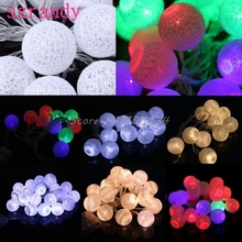 1.3M/2.3M 10/20 LED Cotton Ball Battery String Light Holiday Wedding Party Christmas Decor #S018Y# High Quality