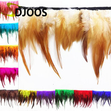 10M Cheap Carnival Plumas De Faisan Naturelle Colores Dyed Rooster Feather For Sale Crafts Wedding Decoration Fringing Wholesale