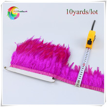 "10yards good quality saddle rooster feather fringing 3-4"" sewing feather rose rooster feather trimming with satin ribbon"