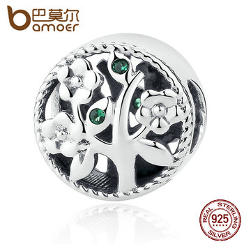 Bamoer moda 100% 925 sterling silver tree of life bead encantos fit pulseiras mulheres beads & jewelry making scc115