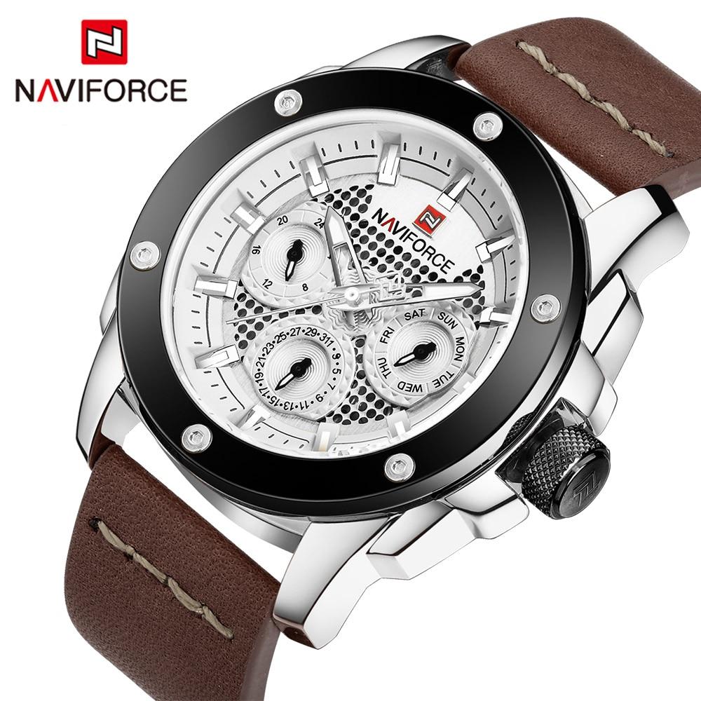 NAVIFORCE Top Luxury Brand Mens Analog Sports Quartz Clock Men Army 24 Hours Leather Waterproof Wrist Watch relogio masculino<br>
