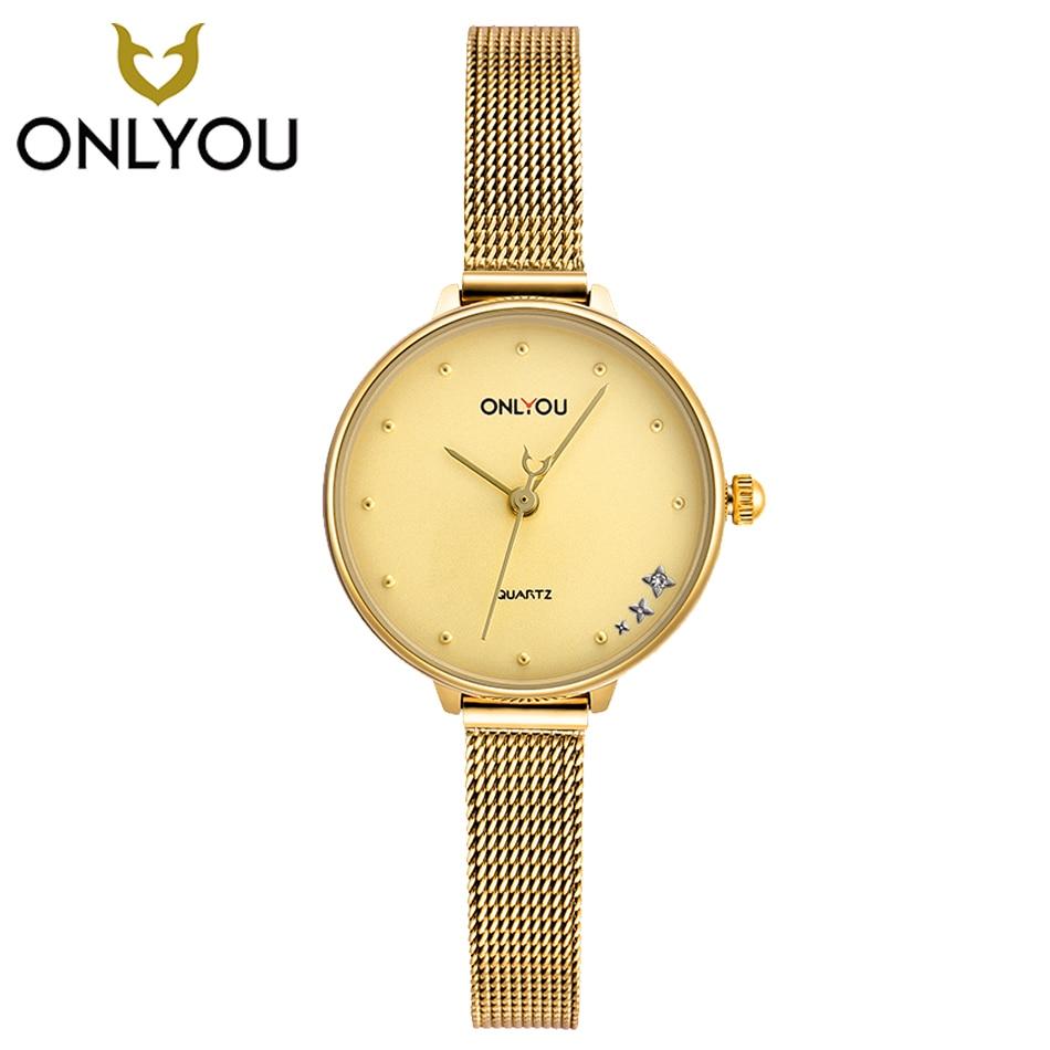 ONLYOU Female Elegant Quartz Watch ultra-thin Steel Bracelet Female Clock Dress Gift Watches Charm Casual lady Beatiful Quartz <br>