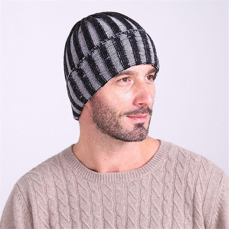 Men and women fashion new winter double color stripe hat sets thermal knitted cap cap Ski hatÎäåæäà è àêñåññóàðû<br><br><br>Aliexpress