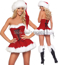 Hot Sales Sexy Christmas Costumes for Adult Red Strapless Corset Top+Skirt+Hat Santa Claus Costumes Fantasy Sensual Women