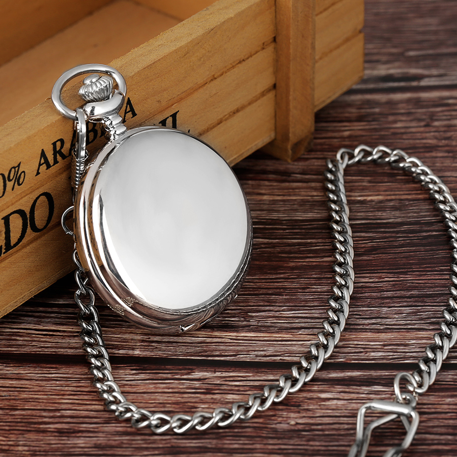 Cool Silver Full Smooth Quartz Pocket Watch Minimalist Round Fob Clock Men Women Concise Steampunk Pendant Gift Xmas Birthday (7)