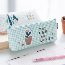 New Cute Little Fresh Succulent Green Plant Pencil Case School Office Pencil Bag Student Gife Stationery(China)