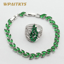 Green Crystal White CZ Silver Color Bracelet Rings Jewelry Sets For Women Free Gift Box WPAITKYS(China)