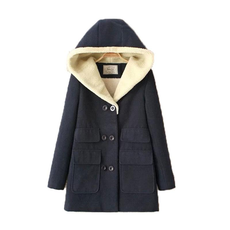 2017 Winter Coats Womens  Double Pocket Hooded Coat With Thick Warm Cotton-padded Jacket Winter Jacket Îäåæäà è àêñåññóàðû<br><br>