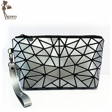 WUSWUX new fashion brand pvc makeup bag geometric folding stone women travel cosmetic bag organizer makeup case clutch 9 colors(China)