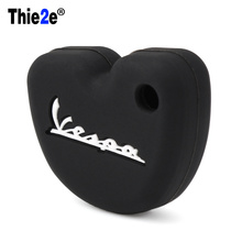 silicone rubber key fob set case cover cap sticker protect keyring keychain for Vespa piaggio new fly 3vte 125 gts gtv 250 300(China)