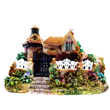 Cute Mini Resin House Miniature House Fairy Garden Micro Landscape Home Garden Decoration Resin Crafts Landscaping Decor DIY Acc(China)