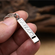 LOVE GIFT 100% 925 sterling silver Necklace Pendant for men or women fine jewelry Mantra long whistle buddha pendant Charm GP53