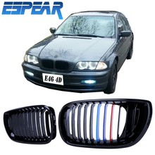 Car Kidney Grill Front Grille For BMW E46 4-Door 3 Series 330i 330Xi 325i 325Xi 2002-2006 Gloss Black M-Colored #941