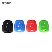 KEYYOU Key Cover Silicone 2 Buttons Remote Car Key Case Cover FOB For PEUGEOT 106 107 206 207 307 With Logo