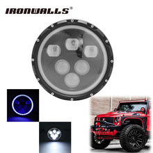 "Ironwalls H4 7"" Motorcycle LED Headlight Cree Chips Driving Lihgt Blue Angel Eye For Harley Softail Jeep Wrangler JK LJ Hummer"