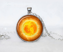 2017 New Silver Sun Necklace Galaxy Space Jewelry Classic Solar System Pendant Glass Cabochon Necklaces Round Pendants