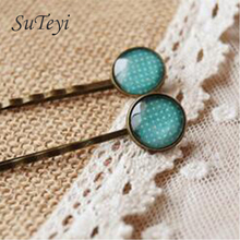 SUTEYI Fashion Blue White Dots Glass Cabochon In Hair Pins for Girls Single Women Copper Accessory Hair By Hand Small Clips 2017